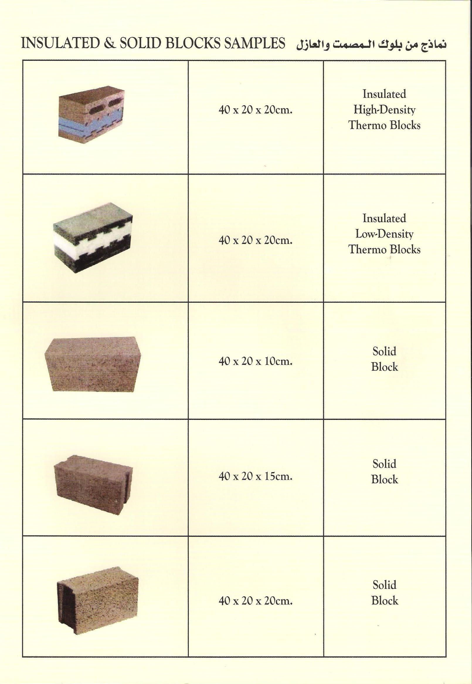 Insulated and solid blocks samples for Insulated concrete masonry units